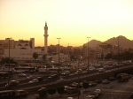 Masjid Bilal and the Busy Streets of Medina at Sunset